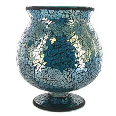 """7"""" Turquoise Glass Mosaic Brandy Candle Holder  Love this <3  Hobby Lobby"""