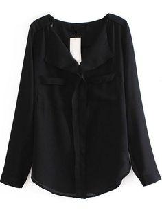 Black Long Sleeve Pockets Chiffon Blouse US$21.41