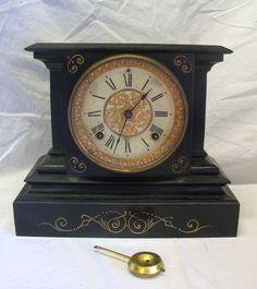 Old Antique 1880s Cast Iron Ansonia Clock Co. Shelf Mantle Clock w/ Pendulum | eBay