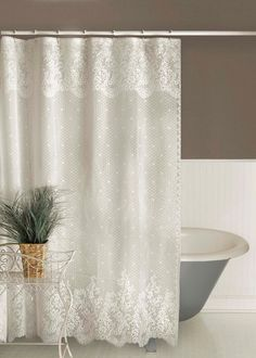 Floret Lace Shower Curtain by Heritage Lace Bathroom Colors, Bathroom Sets, Small Bathroom, Lace Shower Curtains, Bathroom Curtains, Bathroom Ceilings, Bathroom Staging, Rustic Bathrooms, Dream Bathrooms