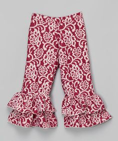 Another great find on #zulily! Burgundy Damask Ruffle Pants - Toddler & Girls by Ruby and Rosie #zulilyfinds