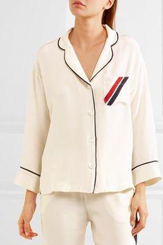 Sleepy Jones - Marina grosgrain-trimmed silk crepe de chine pajama shirt da8b9162b