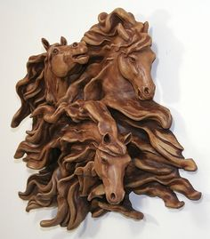 Spirits in the Wind  -  running horses by Sharon Smith Stoneware