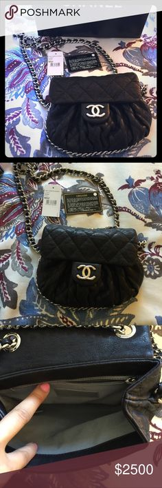 Chanel Chain Around Small 😻😻 Excellent condition very lightly worn. Full Set Bag comes with original box, Chanel drawstring dustbag, tag, Authenticity Card The only sign of wear is a small smudge in the inside by the Chanel logo and interior of flap. Otherwise bag is in excellent condition. I take very good care of my bags and store them in their dust bags when not in use. I carried this bag only a couple of times. Can fit phone, small wallet, compact, lip gloss, medicine and a few other…
