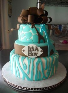 It's A Boy baby shower cake- have all matching plates too!