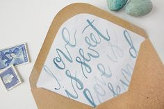 Calligraphy on envelope liners   Eleven and West Studio