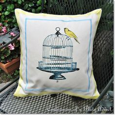 CONFESSIONS OF A PLATE ADDICT: Pottery Barn Inspired Birdcage Pillow