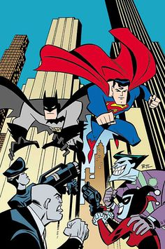 This is how the new Man of Steel Sequel should be! Batman, Superman, The Joker, Harley Quinn, Mercy Graves and Lex Luthor. By Bruce Timm Bruce Timm, Batman Et Superman, Spiderman, Harley Batman, Lego Dc Comics, Arte Dc Comics, Marvel Comics, Comic Book Superheroes, Dc Comic Books