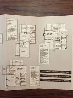 "Eichler Homes brochure c. 1952, ""Start Living in an Eichler Home""; floor plan 407, floor plan 319, floor plan 451 (most similar floor plan to 793 Richmond, 831 Richmond, and others in the Morepark development) (Originals at UCLA Library Special Collection, A. Quincy Jones Papers)"