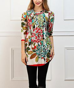 Another great find on #zulily! Red & White Floral Notch Neck Tunic - Women #zulilyfinds