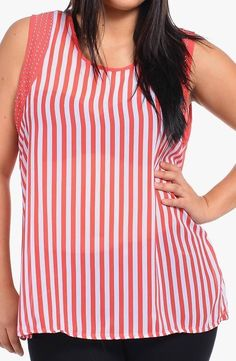JULIET ROSE * SEXY SEMI~SHEER RED and WHITE STRIPE TANK with STUDS * Sz. 3x NWT #JulietRose #TankCami #Casual
