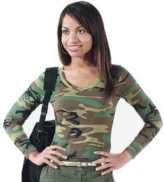 276be95a21936 Womens Camo Military Long Sleeve V-Neck Tee T-Shirt Woodland Camouflage,  Medium
