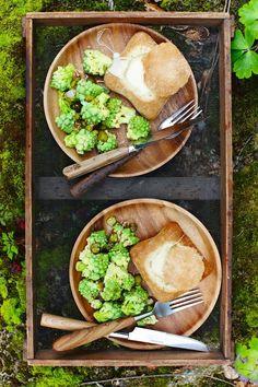 Bread Roll Fondues with Cauliflower Salad