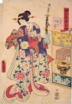 Kunisada, 54 Chapters of the Genji - Yokobue