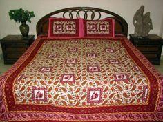 3pcs Set Cotton Bedspread Red Pink Elephant Print Indian Bed Cover Throw Bedding by Mogul Interior, http://www.amazon.com/gp/product/B0098X0BJ0/ref=cm_sw_r_pi_alp_84uuqb03F1JNE