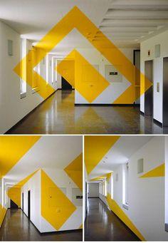Anamorphic Geometric Installations by Felice Varini