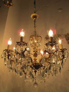 Antique Vintage 8 arms 3 Chrubs Crystal Chandelier Lamp 1960s 60cms Diamtr Rare* | Antiques, Architectural Antiques, Chandeliers | eBay!