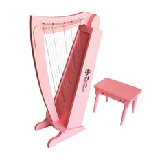 Schoenhut 15 String Harp w/ bench - Pink Range of 15 notes Nylon strings that are tunable with zither pins and a zither pin wrench Harp Includes: Bench and tuning wrench Assembled dimensions: L x W x H Musical Instruments, Kids Toys, Piano, Musicals, Diys, Pink Music, Toddler Stuff, Toddler Fun, Baby Toys