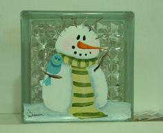 Glass Block Light-small-Night Light-Snowman Bad Hair Day