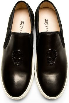 1ea0384a67eaf Alexander McQueen - Black Embossed Skull Calf-Hair Slip-On Shoes   SSENSE  Flip