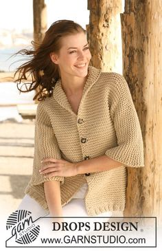 """Knitted DROPS jacket with 3/4 sleeves in garter st in """"Ice"""". Size S - XXXL. ~ DROPS Design"""