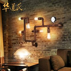 China's loft industry wind wall Bar Cafe personality decorative retro pipe wall