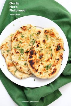 Herb Garlic Flatbread Recipe No Yeast - Vegan Richa