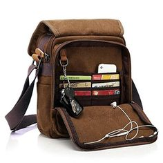 fe6f69f412 Ekphero ( tm ) multifuctional casuale cotone pelle tela ipad sacchetto  crossbody spalla Mens Tote Bag