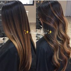 Hair Color Trends 2018 – Highlights : Dark hair w highlights - Lange Haare Ideen Brown Hair Balayage, Brown Ombre Hair, Ombre Hair Color, Hair Color Balayage, Balayage Straight Hair, Balayage On Dark Hair, Carmel Ombre Hair, Brunette Ombre Balayage, Carmel Balayage
