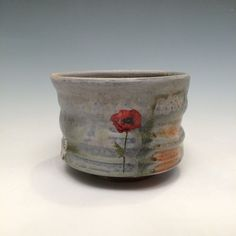 Wood Fired Teabowl with poppy decals by rothshank on Etsy