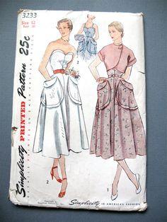 Uncut 50s Strapless Dress and Bolero Pattern by Fancywork on Etsy