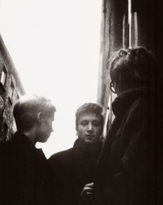 The Cavern.Astrid Kircher, John Lennon and Stuart Sutcliffe outside the Cavern. Mike Kircher, John Lennon and Stuart Sutcliffe outside the Cavern. Great Bands, Cool Bands, Stuart Sutcliffe, The Quarrymen, Teddy Boys, The Fab Four, Boy George, Ringo Starr, George Harrison