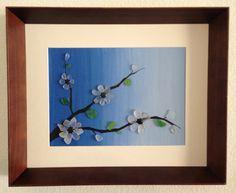Sea Glass Art/ Japanesse Art/ Tree Blossom/ Beach Decor/ Home Decor/ Canvas Art/ Framed Art/ Blue/ White Sea Glass/ Pebble Art/
