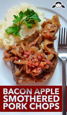 Bacon Apple Smothered Pork Chops by Michelle Tam http://nomnompaleo.com  Use a green apple to keep it #21dsd   #pork