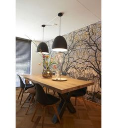 Salle à manger Wall / RTL Woonmagazine Goossens eetkamertafel Orleans Dining Room Design, Dining Room Table, Wood Table, Dining Chairs, Sweet Home, Beautiful Dining Rooms, Dining Room Inspiration, Home And Living, Living Room