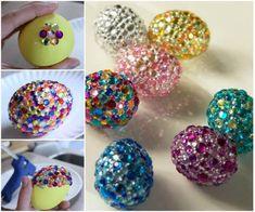DIY rhinestone egg #diy #crafts #easter