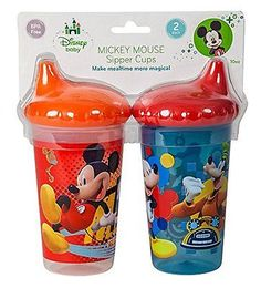 Disney Mickey Mouse Clubhouse Slim Sippy Cups RedBlue 2 Count 632878239352 for sale online Baby Dolls For Kids, Best Baby Bottles, Disney Mickey Mouse Clubhouse, Disney Cups, Baby Mickey, Baby Mouse, Thing 1, Disney Junior, Free Baby Stuff