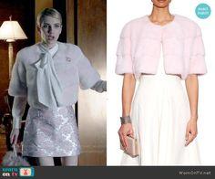 Chanel's pink fur cropped jacket on Scream Queens.  Outfit Details: http://wornontv.net/51961/ #ScreamQueens
