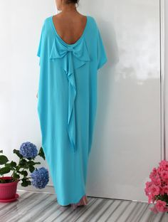 Maxi backless turquoise elegant Open Back by cherryblossomsdress, $99.00