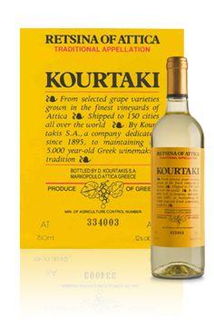 KourtakiRetsinaofAtticaWineDetail Old Greek, Dry White Wine, Old Ads, Advertising Poster, Greek Recipes, Vintage Ads, Athens, Bottle, Products