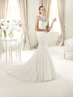 Pronovias Lace Mermaid Wedding Dress by Pronovias Bridal Wedding Dresses Pronovias Wedding Dress, Wedding Dress Organza, Wedding Dress Train, Wedding Dress Styles, Designer Wedding Dresses, Bridal Dresses, Wedding Gowns, Prom Dresses, Tulle Wedding