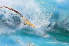 """Blue Wave"" (Detail 1)                            Encaustic  Painting    By Melissa  Sanchez    Shellac Burn  www.encausticdreams.com  (10in By 10in)"