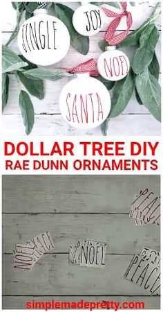 DIY DOLLAR TREE Rae Dunn ornaments, Dollar Tree Christmas tree decorations You don't have to spend a lot of money to get super cute ornamentsSimple DIY Christmas Ornaments Looking Store Purchased - Twin DishesSimple DIY Easy Christmas Decorations, Christmas Ornament Crafts, Holiday Crafts, Diy Ornaments, Dough Ornaments, Ornament Display Tree, Diy Christmas Gifts Videos, Diy Christmas Tree Decorations, Decorating Ornaments