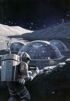 retro_futurism: Peter George Elson 1947-1998retro_futurism: Peter George Elson 1947-1998, retro-futuristic art, sci-fi art, Moon colony, future astronaut
