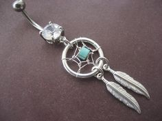Dream Catcher Belly Button Ring- Turquoise Stone Dreamcatcher Feather Charm Dangle Navel Piercing