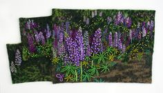 Purple Wave by Jo Wood bead embroidery Bead Embroidery Patterns, Free Motion Embroidery, Silk Ribbon Embroidery, Beaded Embroidery, Seed Bead Flowers, Beaded Flowers, Estes Park, Fabric Painting, Fabric Art