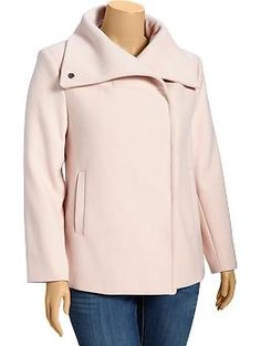 Women's Plus Wool-Blend Funnel-Neck Jackets | Old Navy