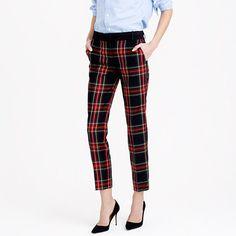 "A cropped, slim style with a satin waistband and tux stripe—because you have 10 holiday parties to go to (and that's just this week). <ul><li>Sits at hips.</li><li>Fitted through hip and thigh, with a slim, cropped leg.</li><li>26 1/2"" inseam.</li><li>Wool/poly.</li><li>Dry clean.</li><li>Import.</li><li>Online only.</li></ul>"