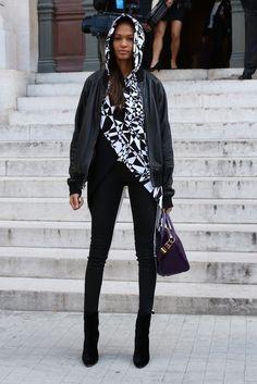 Leather jacket + hoodie