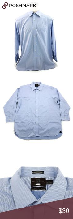 "NWT TOMMY HILFIGER /""INDIGO/"" REGULAR FIT BLUE L//S DRESS SHIRT 15-15.5  32//33"